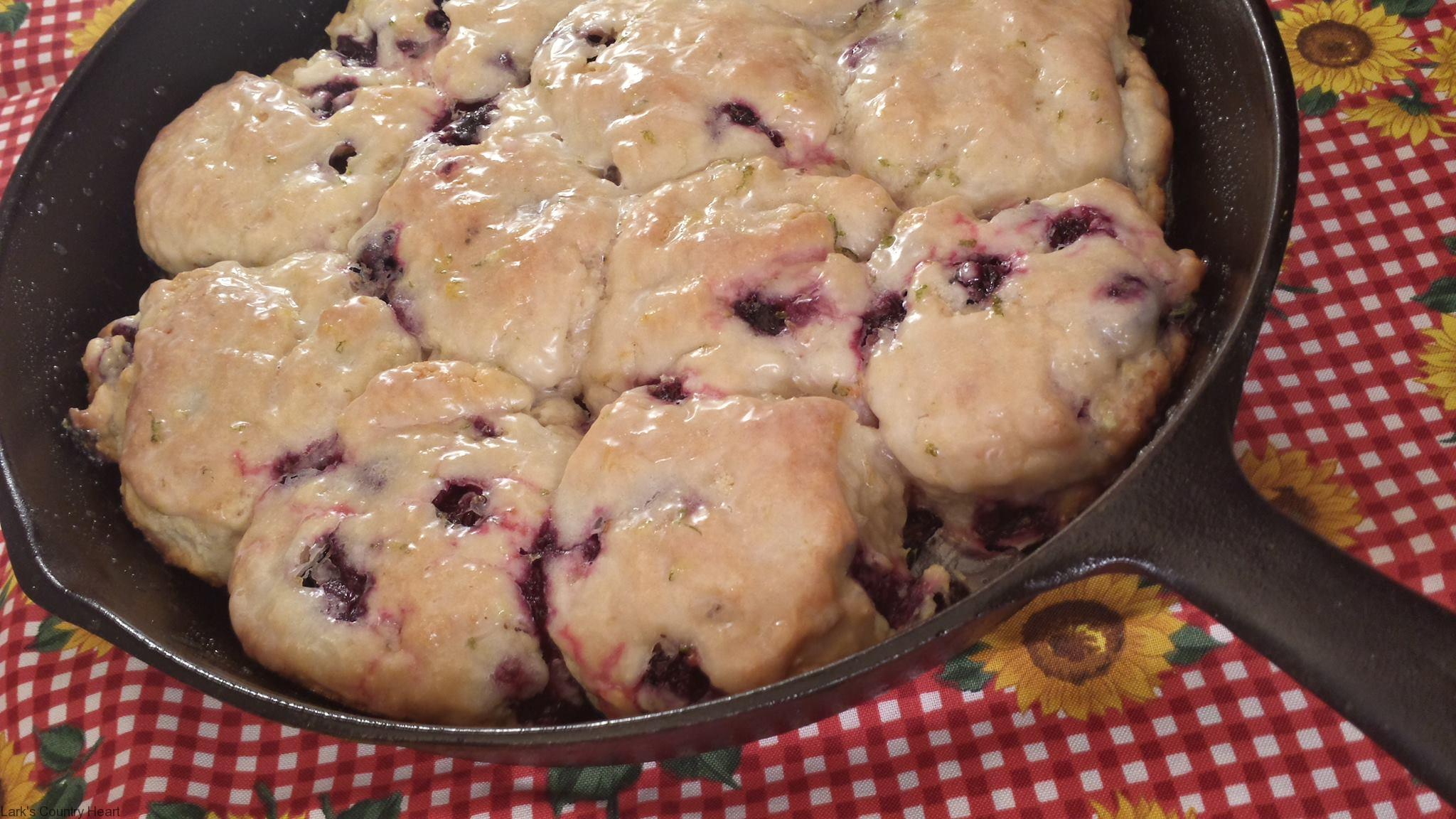 Skillet Blueberry Biscuits with Fresh Lime Glaze